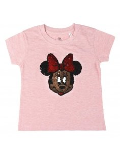 CAMISETA CORTA PREMIUM LENTEJUELAS SINGLE JERSEY MINNIE