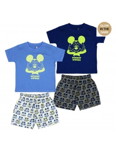 PIJAMA CORTO GLOW IN THE DARK SINGLE JERSEY MICKEY